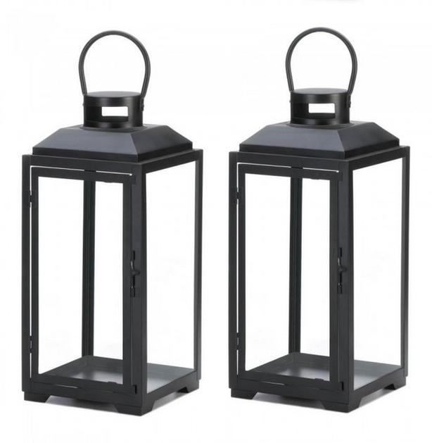 Large Black Square Metal Candle Lantern Set of 2 Brand New