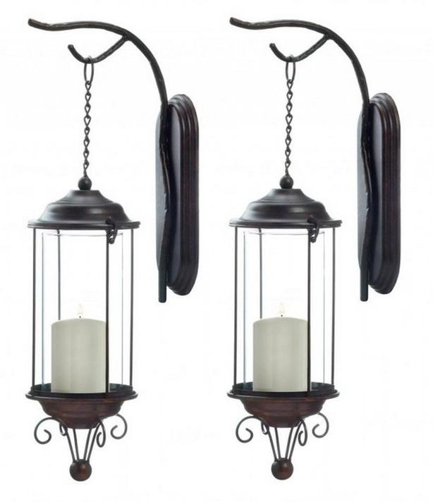Hanging Hurricane Candleholder Sconce Branch-Like Wall Hook & Chain 2 Lot