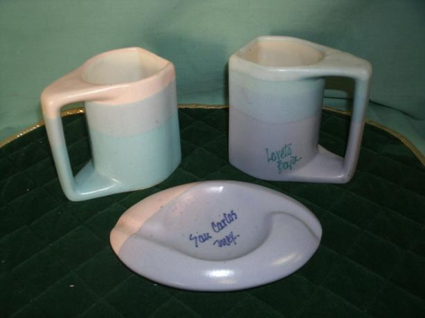 Two Pottery Mugs Cups & Ashtray