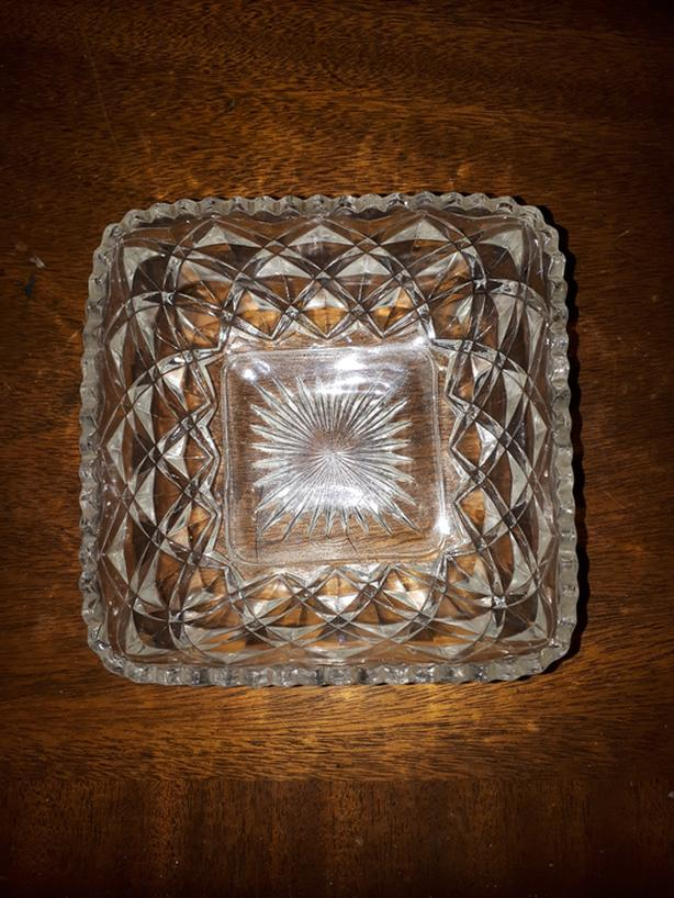 Unique Vintage Square Crystal Glass Bowl