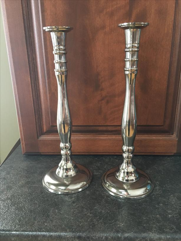 Pair Antique Silver Plated Candlesticks