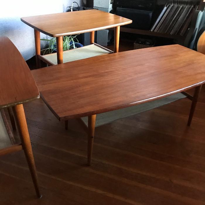 teak set - mid century - coffee table and side tables ...