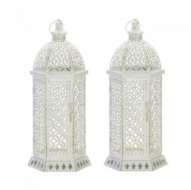 "20"" White Hexagon Metal Candle Lantern Cutwork Detailing 2 Lot"