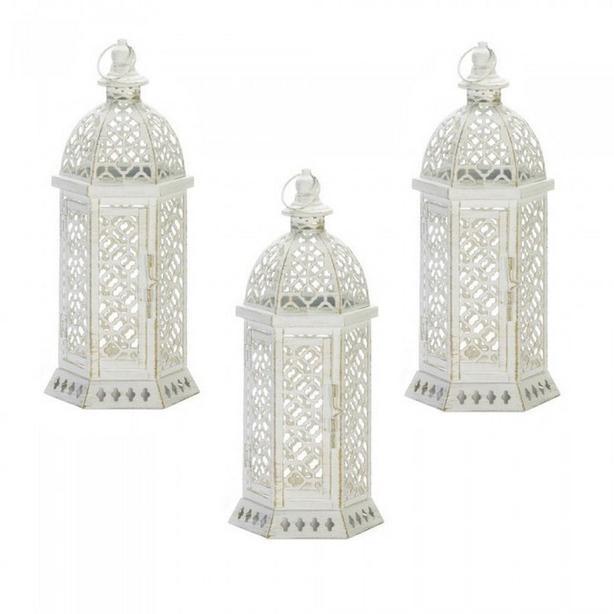 """15"""" White Hexagon Metal Candle Lantern Cutwork Detailing 3 Lot"""