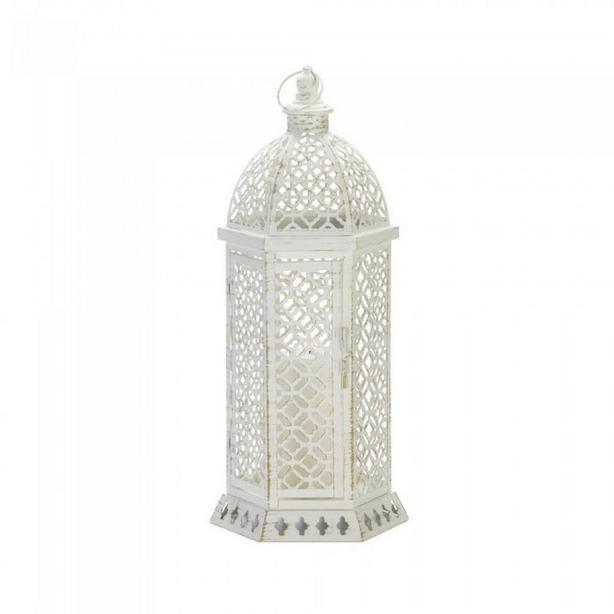White Hexagon Metal Candle Lantern Cutwork Detailing Lg&Sm 2 Lot Mixed