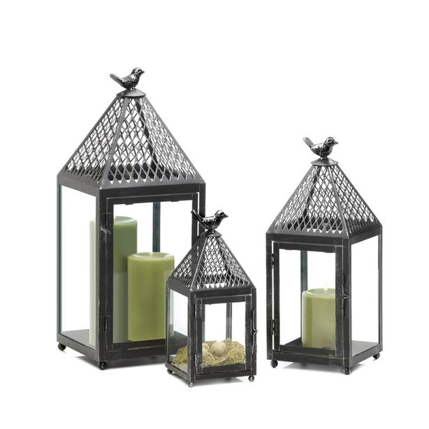 Weathered Black Candle Lantern Lattice Top Bird Finial S/M/L 3PC Mixed Lot NEW