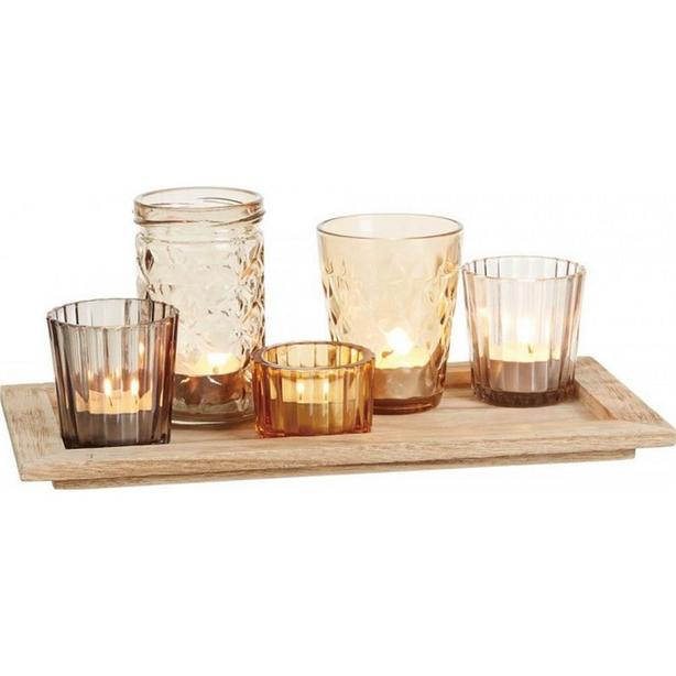 6PC Jar Candleholder Set with Wood Tray Lot of 3 Sets Gifts Resale NEW
