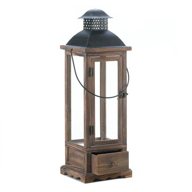 Large Rustic Wooden Candleholder Lantern with Metal Roof & Pullout Drawer NEW