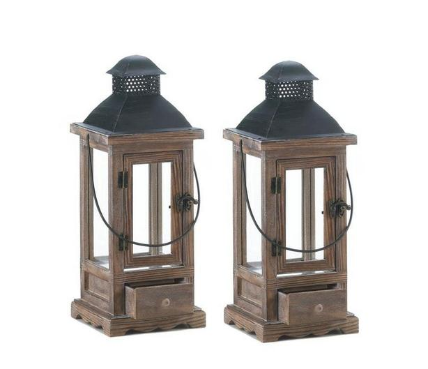 Tall Rustic Wooden Candleholder Lantern Metal Roof & Pullout Drawer Set of 2 NEW