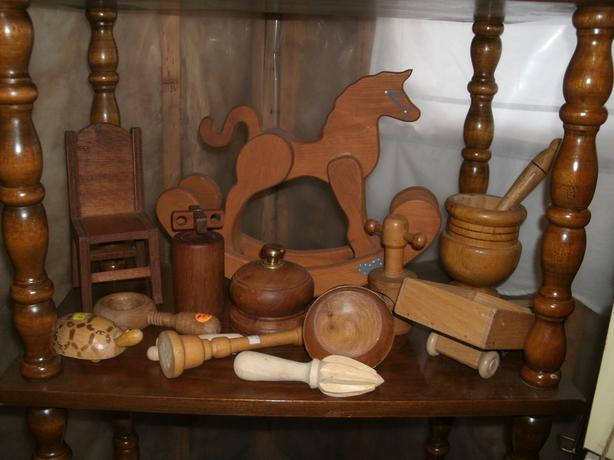 Vintage Wooden carved Toys - Dolls Rocking Horse - Doll Chair etc