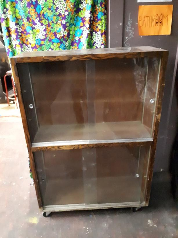  Log In needed $100 · Vintage wood display cabinet with sliding glass doors