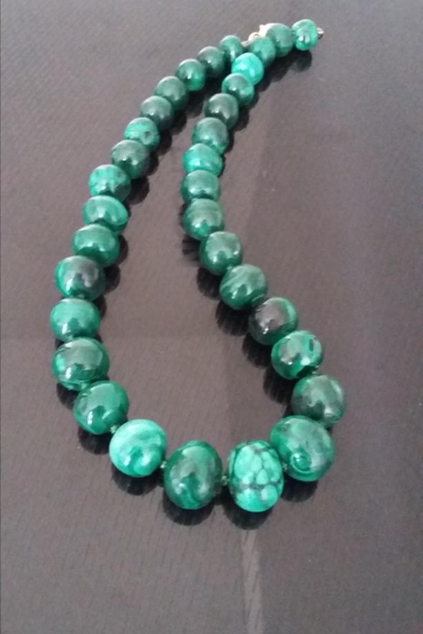 HAND KNOTTED MALACHITE NECKLACE W. SILVER CLASP 17 1'2""