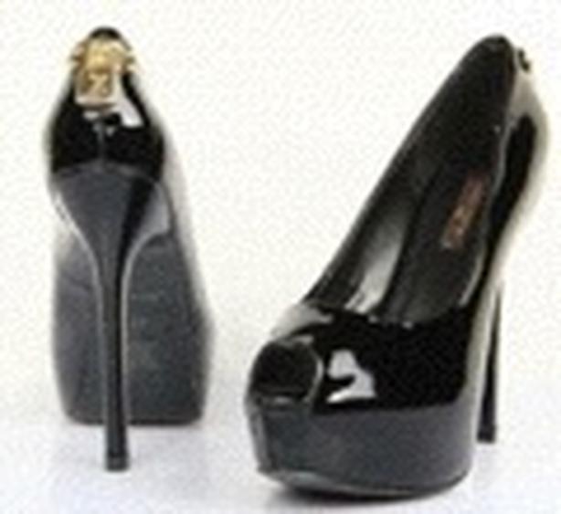 Louis Vuitton lock open toed pump