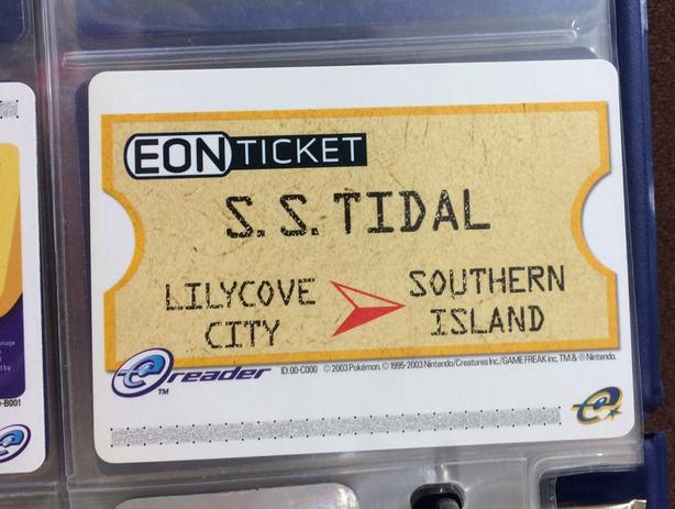 Pokemon EON Ticket SS Tidal eReader 2003 Ruby Sapphire Rare GameBoy Advance MINT