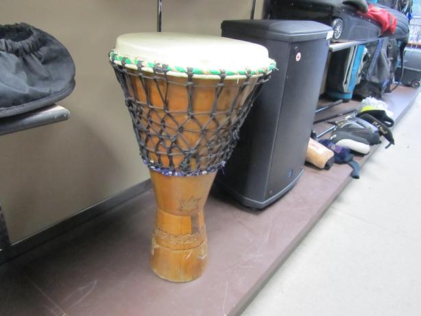 "#164156-1 XL Djembe approx 25.5"" x 14.5"" with cover"