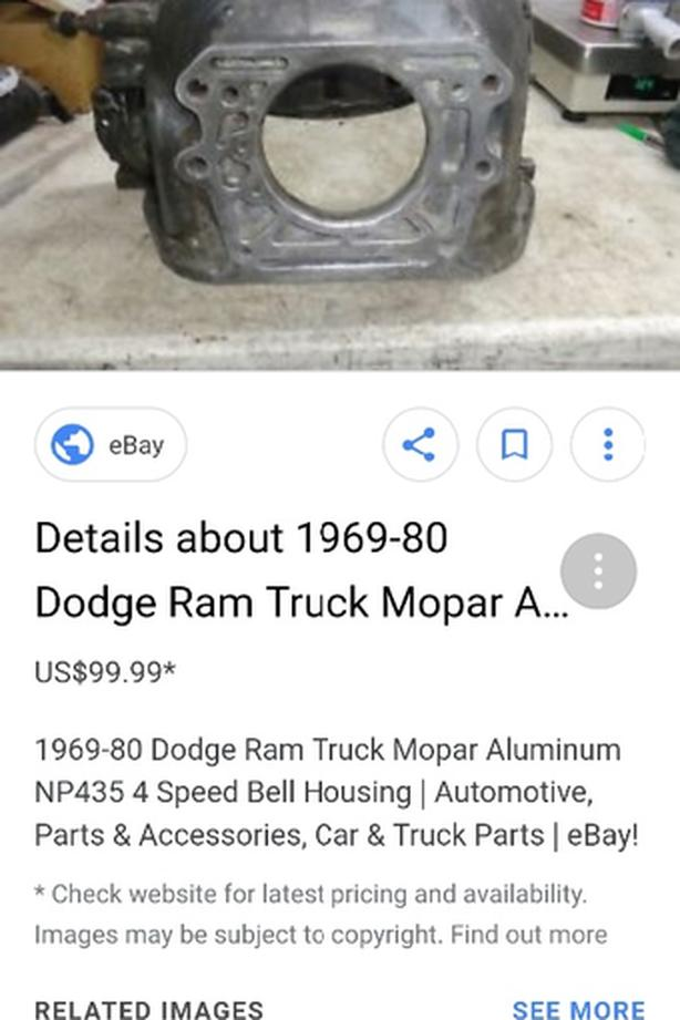 WANTED: WANTED: 318 bell housing Dodge chrysler