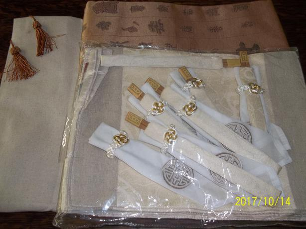Tablecloth-placemats -napkin ring and chopsticks
