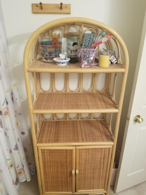 Wood and wicker  shelf/bathroom storage