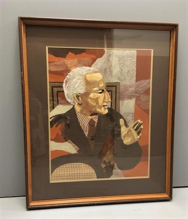 "Maureen Greta Marshall (1921-) LARGE Original Collage ""Talking Man"" Framed Glass"