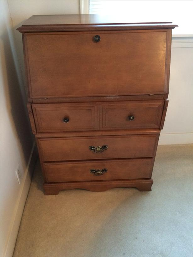 drop front desk with 3 drawers