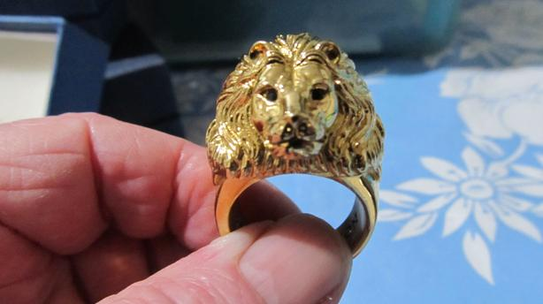 24 KT. GOLD PLATED LION HEAD RING