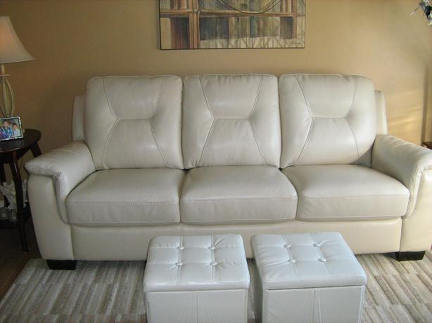 Leather off-white couch