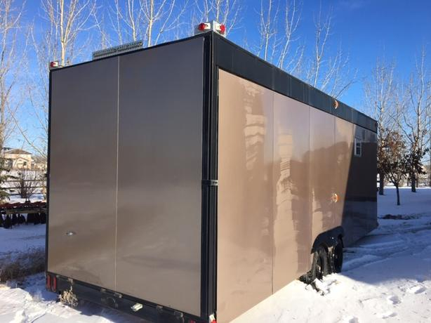 28' 2017 New Enclosed Trailer (9' ceiling, electric slide to 14 feet)