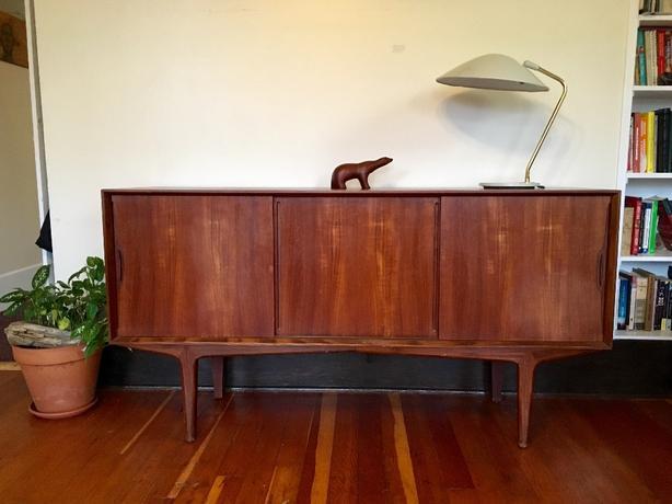 1960s Danish Credenza : Mid century ib kofod larsen teak credenza sideboard for faarup