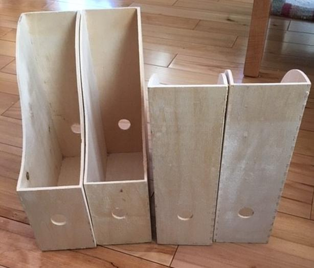 4 x IKEA KNUFF Wooden Magazine File - Book Paper Holder