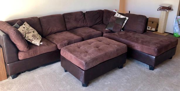 FREE: Pickup Two-Piece Sectional Couch with Ottoman!
