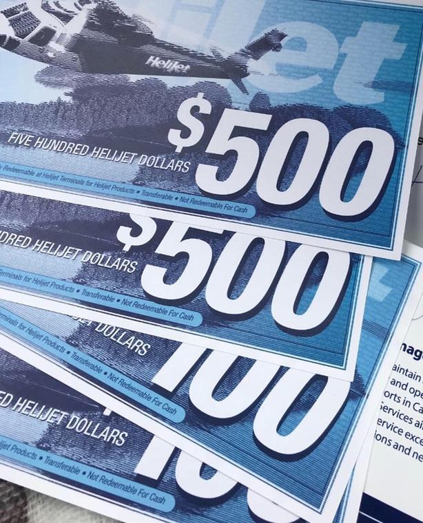 $1200 in Helijet vouchers