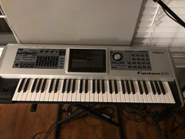 The Roland Fantom-G6 61-key sampling synthesizer workstation