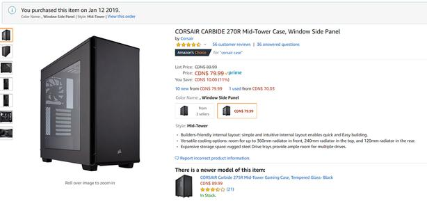 Brand new Corsair 270R Mid-Tower Case, Window Side Panel