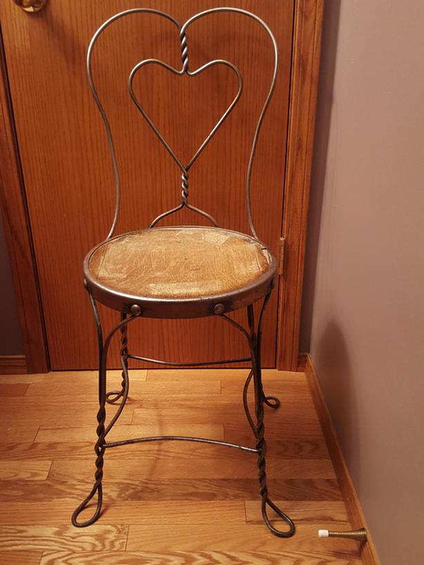 3 METAL ICE CREAM PARLOUR CHAIRS - vintage