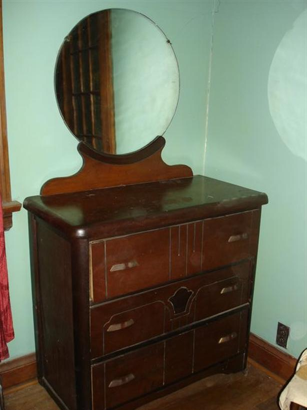 *SOLD*Art Deco Vintage 3 Drawer Solid Wood Dresser with Mirror