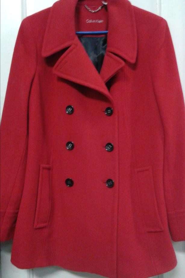 red calvin kelin medium  wool coat great condition