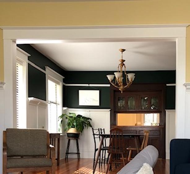 Brass chandelier & matching ceiling light