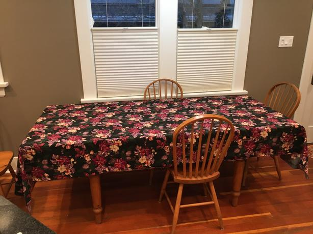 "Black & Red Christmas Tablecloth 112"" X 56"""