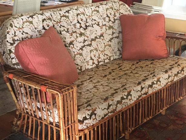 Antique Rattan Couch and Chair Set