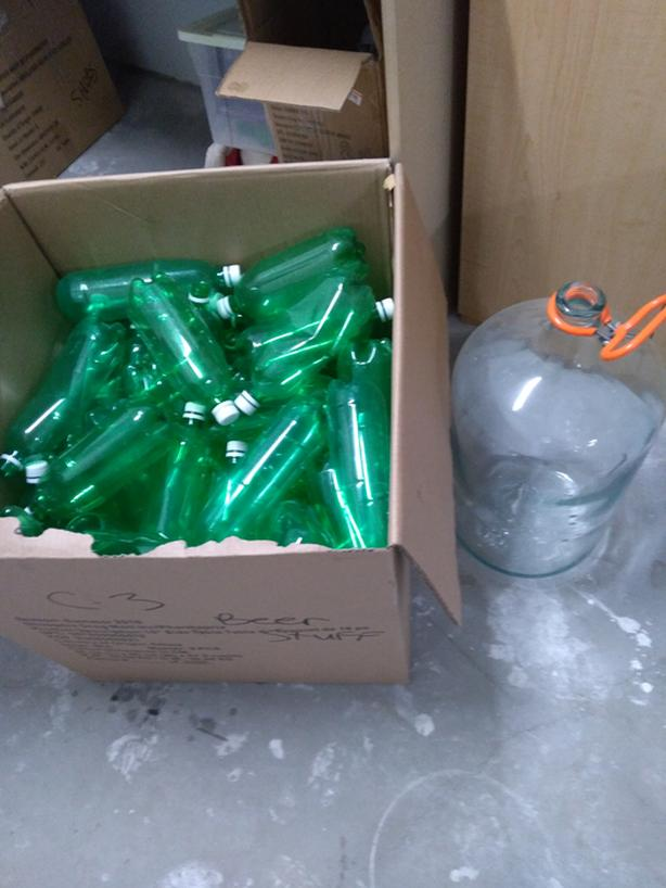 Glass Car Boy and 60 + Plastic Beer Containers
