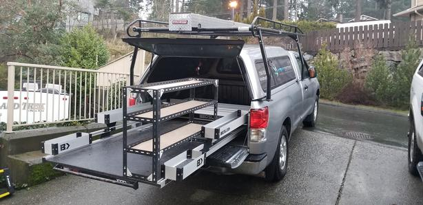 """95"""" x 48"""" Bedslide with bin add-ons for pickup truck"""
