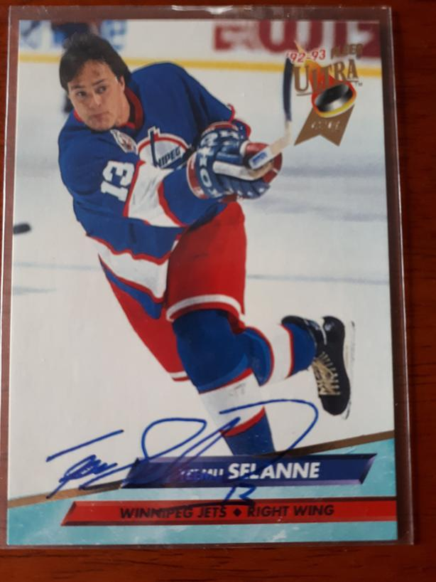 wholesale dealer 66c37 5086f  Log In needed $30 · Teemu Selanne Autographed Rookie Hockey Card  (Winnipeg Jets)