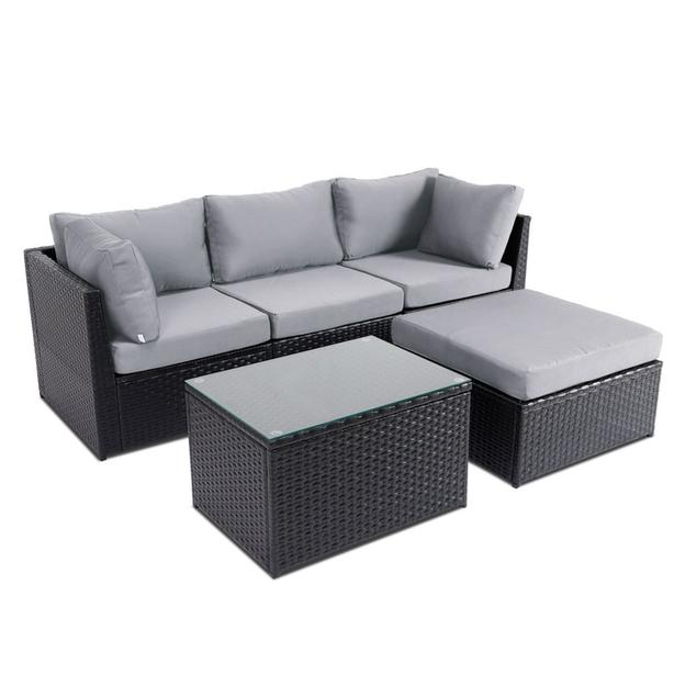 piece Patio Sectional, includes ottoman and glass coffee table