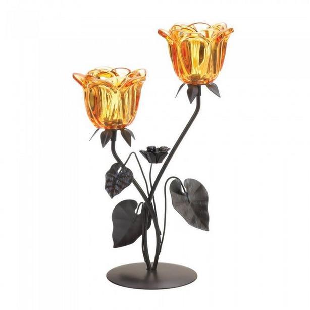 "13"" Double Amber Flower Candleholder Centerpiece Stand 3 Lot"