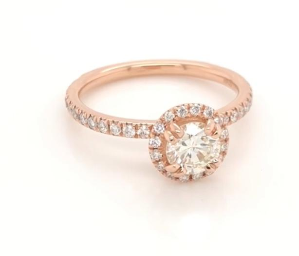 751ca84aa New: 14k Rose Gold 1.0 tcw Diamond Engagement Ring Gemologist Appraised  $4120