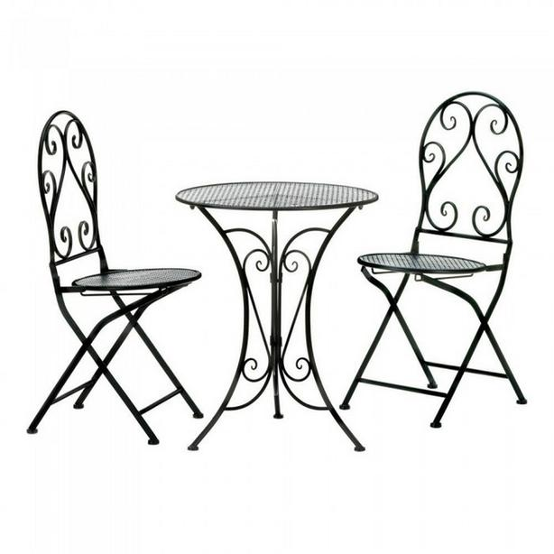 3PC Black Metal Table & Chairs Bistro Patio Furniture Set Brand New
