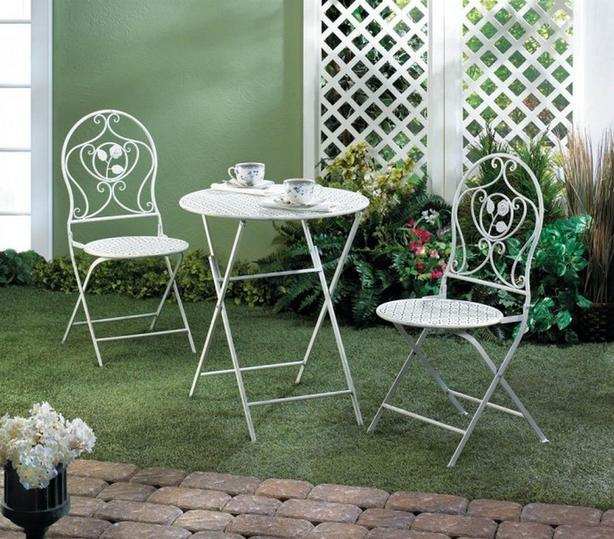 White Metal Bistro Chairs & Table Patio Furniture Set 3PC Brand New