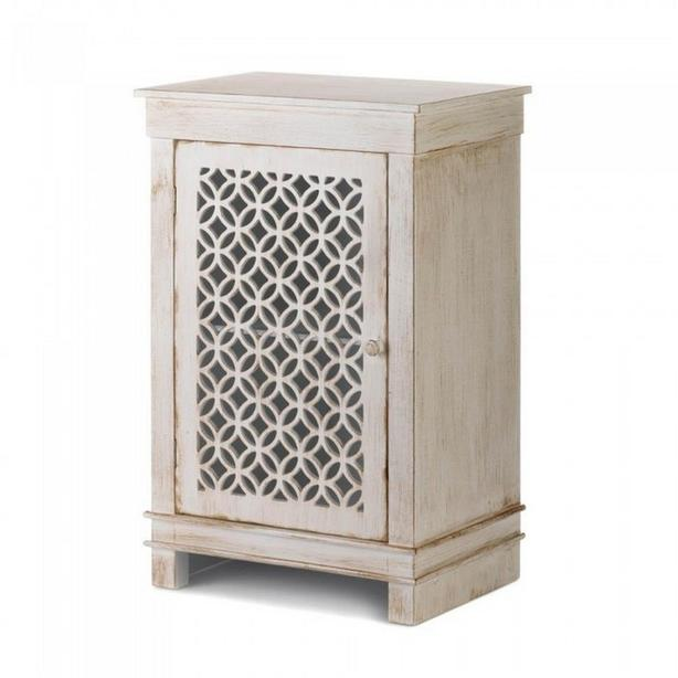 Distressed White Wood Cabinet Side Table Detailed Cutwork Door New