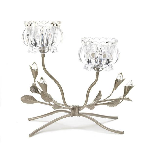 Glass Crystal-Look Double Flower Candleholder Wedding Centerpiece 4 Lot New