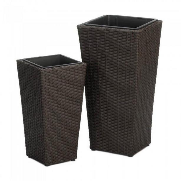 Tall Rectangle Brown Wicker Rattan Flower Pot Planter Set with Removable Liners